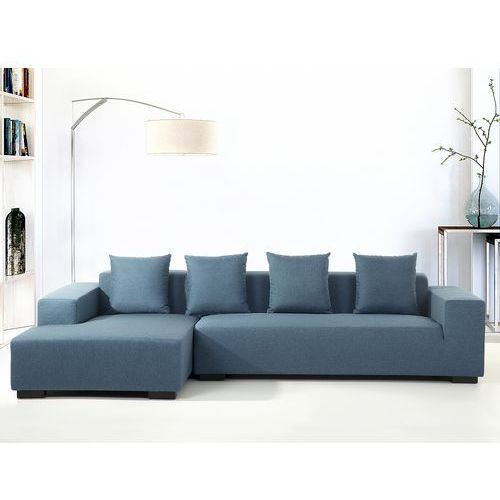 Beliani Sofa niebieska - sofa narożna p - tapicerowana - lungo