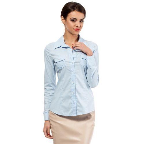 Błękitna Klasyczna Taliowana Koszula z Długim Rękawem, E020lbe
