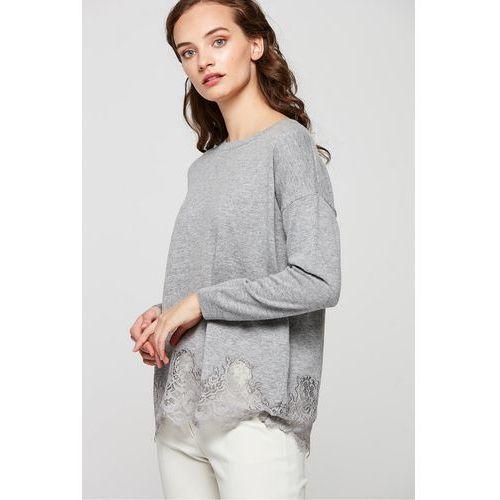 Szara bluzka dzianinowa wykończona koronką - Patrizia Aryton, 1 rozmiar