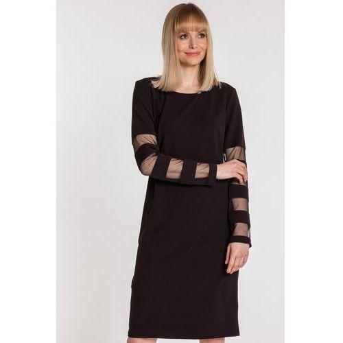 a50f96aa13 Czarna sukienka z przejrzystymi wstawkami - Trynite