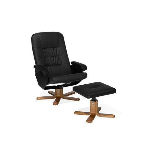 Fotel do masażu podgrzewany z podnóżkiem ekoskóra czarny RELAXPRO, kolor czarny