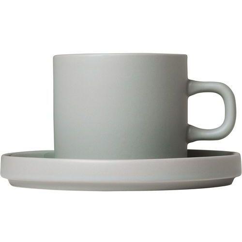 Blomus Filiżanki do kawy ze spodkami mio szary, 2 zestawy (b63911)