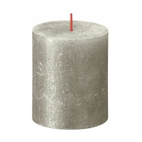 Świeca pieńkowa rustic shimmer szampańska srebrna wys. 8 cm marki Bolsius