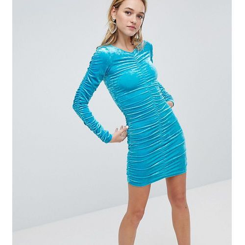 Monki Ruched Sleeve And Side Velvet Dress - Blue, w 4 rozmiarach