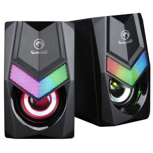 głośniki sg-118, 2.0, 6w, czarne, regulacja głośności, do gry, 150hz-20khz, rgb marki Marvo