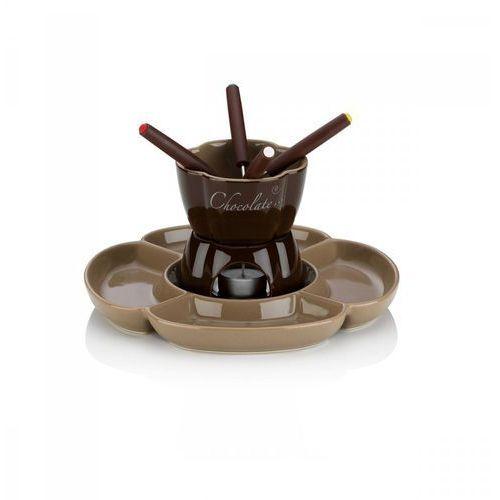 Ceramiczny zestaw do fondue czekoladowego 4 os. 0,25 l brązowy marki Kela