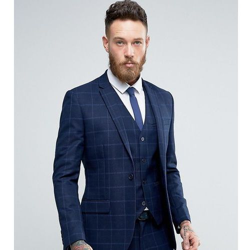Only & Sons Super Skinny Suit Jacket In Textured Check - Navy, kolor szary