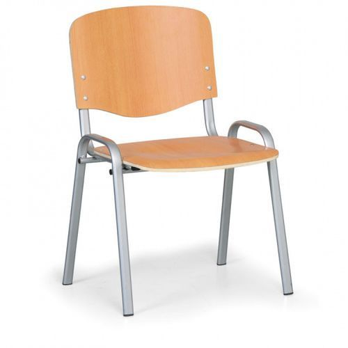 Drewniane krzesło ISO, czereśnia, kolor konstrucji szary, nośność 120 kg
