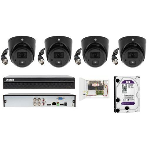 Kompletny zestaw monitoringu na 4 kamery kopułowe full hd 2 mpix marki Dahua