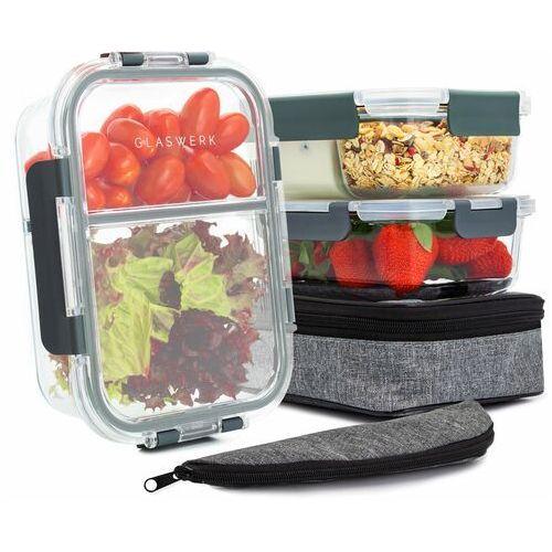 Klarstein Glaswerk Hopewell pojemniki do przechowywania żywności, zestaw 3-częściowy, 1040 ml, szkło borokrzemowe, torba