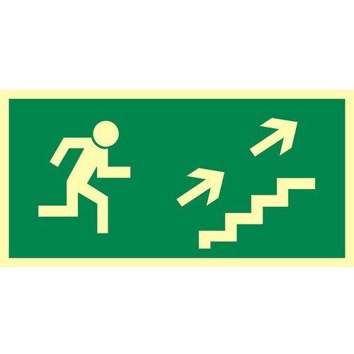 Kierunek do wyjścia drogi ewakuacyjnej schodami w górę w prawo marki Top design