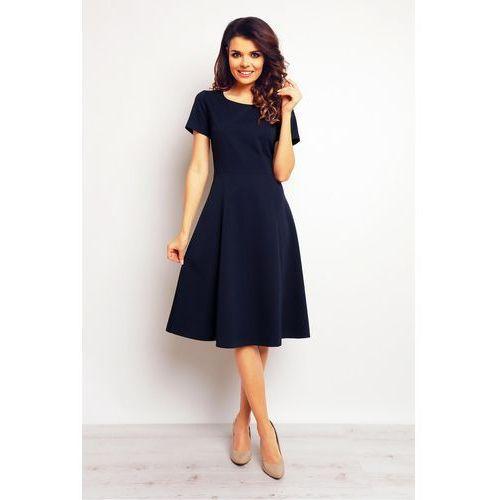 Granatowa Klasyczna i Elegancka Midi Sukienka z Krótkim Rękawem