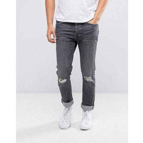 River Island Slim Jeans With Knee Rips In Black Wash - Black, jeans