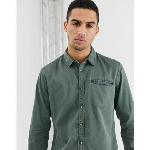 Esprit slim fit structured washed denim shirt in olive - Green, kolor zielony