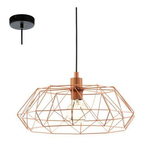 Eglo Industrialna lampa wisząca carlton 2 49488 druciana oprawa metalowy zwis newton ip20 drut miedziany