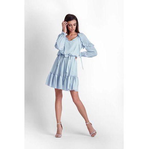 Ivon Niebieska zwiewna szyfonowa sukienka w stylu boho
