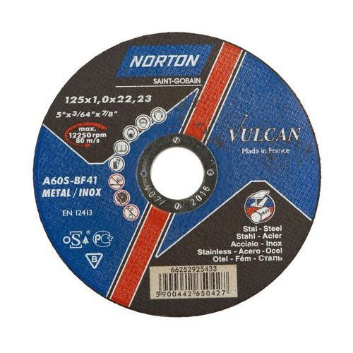 Tarcza do cięcia t41 125 x 1.0 x 22.23 stal marki Norton