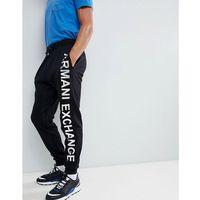 Armani Exchange metallic side logo sweat joggers in black - Black