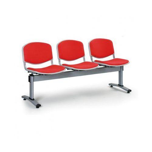 Ławka do poczekalni LIVORNO, tapicerowana 3 siedzenia, czerwony
