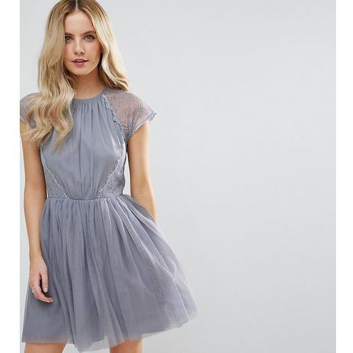 premium lace tulle mini prom dress - grey, Asos petite