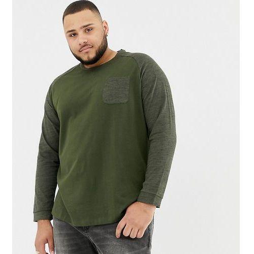 Tom tailor plus long sleeve top with raglan sleeve in green - green