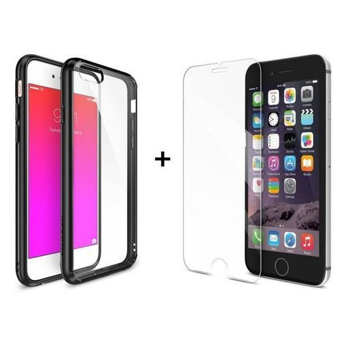 Zestaw | Rearth Ringke Fusion Black + Szkło ochronne | Etui dla Apple iPhone 6 / 6S