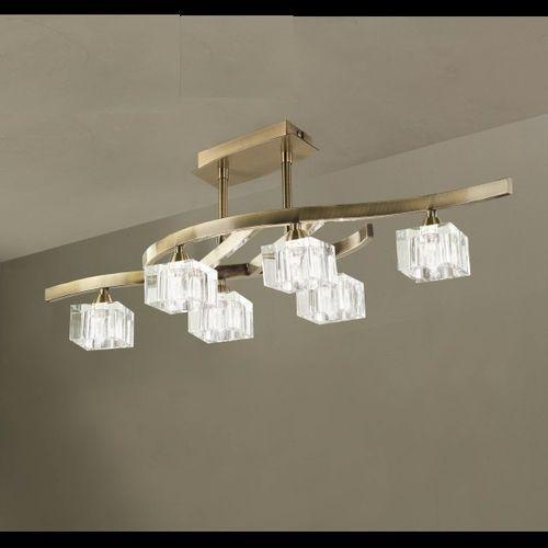 Mantra Lampa sufitowa cuadrax 6l antyczny mosiądz i szkło optyczne, 1100