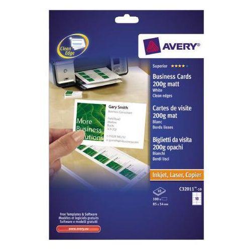 AVERY Wizytówki QUICK&CLEAN c32011 54x85mm 200 g/m2 biały, 10 sztuk