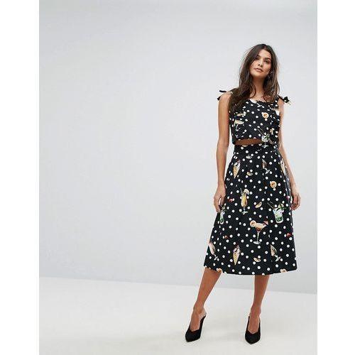 Mango Dot And Floral Midi Skirt - Black