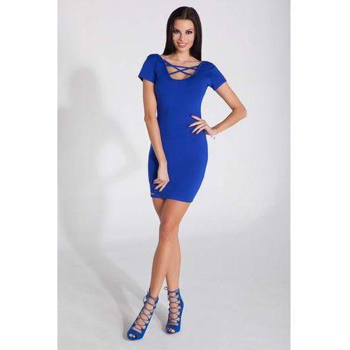 Chabrowa Dopasowana Mini Sukienka z Intrygującym Dekoltem, w 3 rozmiarach