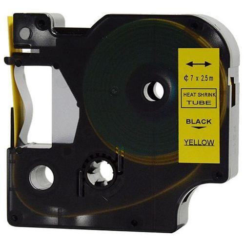 Aimotech Rurka (koszulka) termokurczliwa zamiennik do dymo, średnica 7mm, szer. wydruku 12mm, dł. 2.5m, żółta, czarny nadruk rs7y