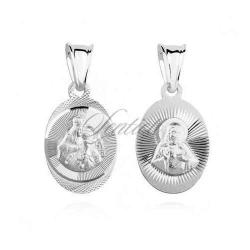 Sentiell Srebrny medalik jezus / matka boska szkaplerzna - md474