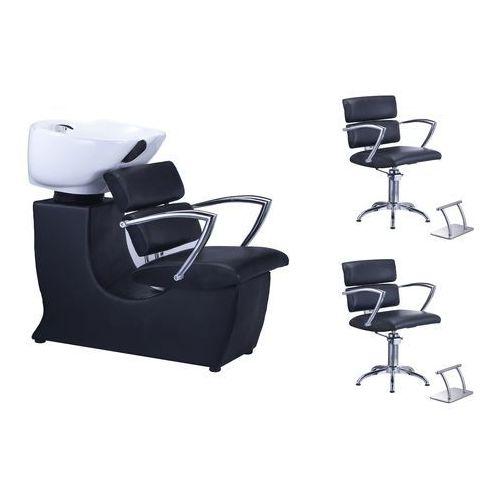 Profesjonalna myjnia fryzjerska + 2 x fotel fryzjerski olga + armatura + 2 x podnóżki black marki Calissimo