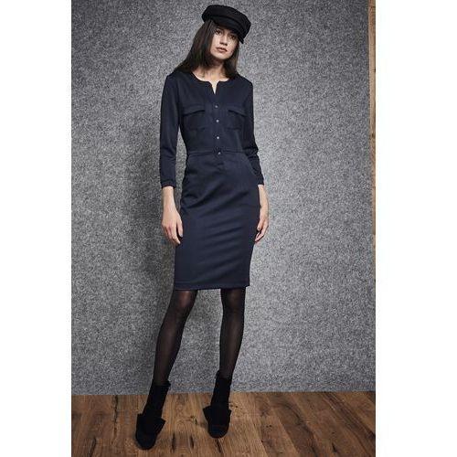 Granatowa sukienka - Ennywear, 1 rozmiar