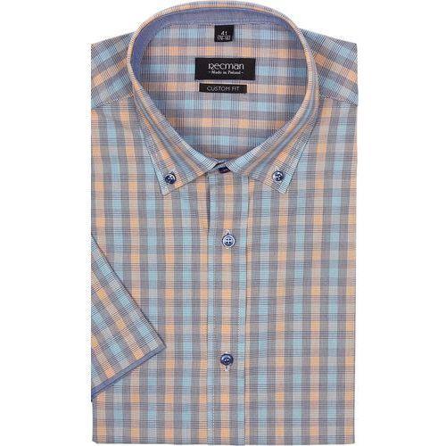 koszula bexley 2301 krótki rękaw custom fit pomarańczowy, bawełna