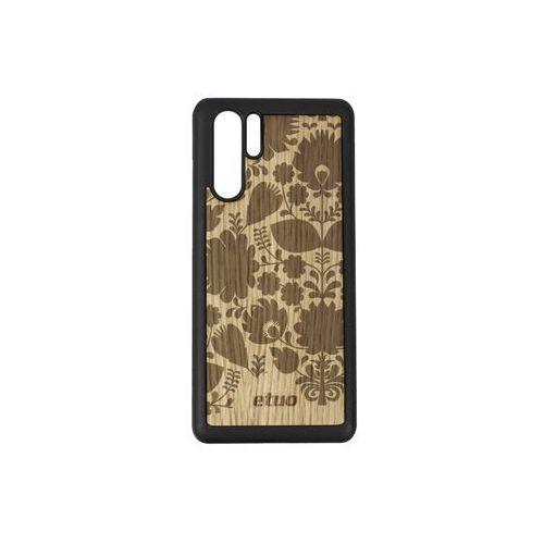 Huawei P30 Pro - etui na telefon Wood Case - dąb - łowickie kwiaty, ETHW848EWODDB003000