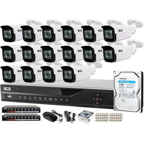 Zm13064 zestaw monitoringu dla ochrony parkingu hali magazynu z 16x kamera 5mp -tip5501ir-v-v + akcesoria marki Bcs