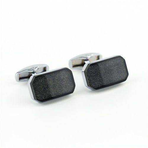 Onyx-art Klasyczne, prostokątne spinki do mankietów kc-1055 london