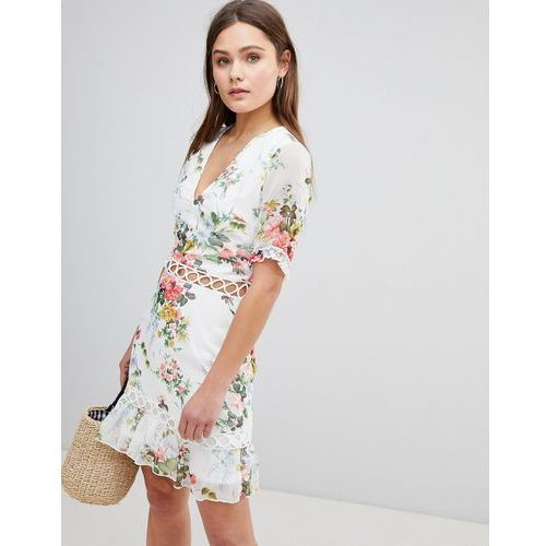 floral dress with lattice inserts - white, Parisian