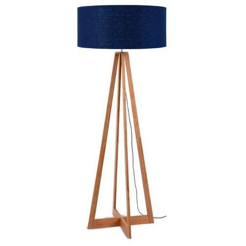 Good&mojo lampa podłogowa everest bambus 4-nożna 127cm/abażur 60x30cm, lniany blue denim everest/f/6030/bd