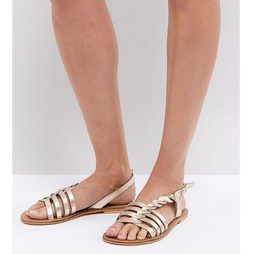 flattered leather plaited t-bar flat sandals - gold, Asos
