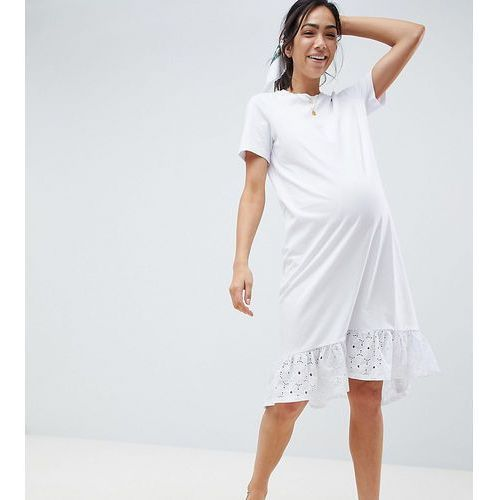Asos maternity Asos design maternity midi t-shirt dress with broderie drop hem - white