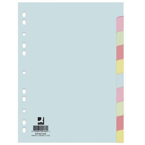 Q-connect Przekładki kartonowe 10 kart kolorowe