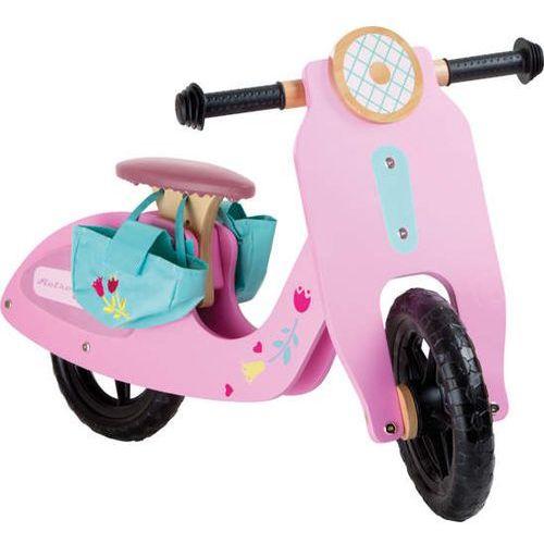 Rowerek bez pedałów dla dziewczynek - z torbami na zakupy