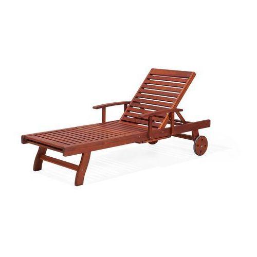 Beliani Leżak ogrodowy ciemne drewno z poduszką białą toscana (7081455995366)
