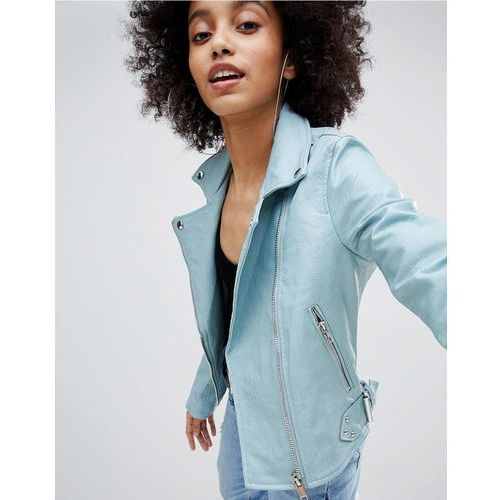 leather look biker jacket - blue marki Bershka