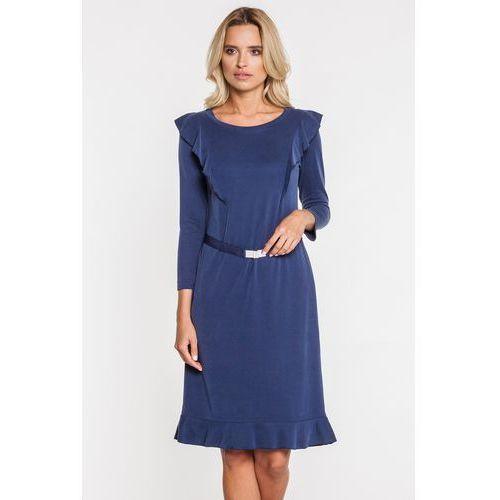 Granatowa sukienka z cienkim paskiem i falbanami - GaPa Fashion, kolor niebieski