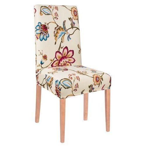 Pokrowiec na krzesło elastyczny kremowe kwiaty (5907719404165)