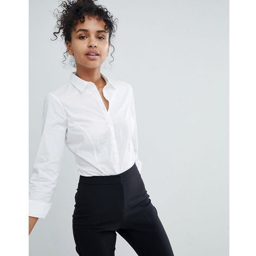 Asos design long sleeve shirt body in stretch cotton - white
