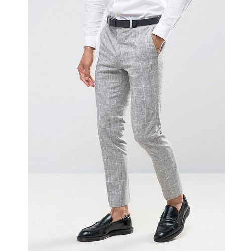 wedding skinny suit trousers in grey check - grey, River island